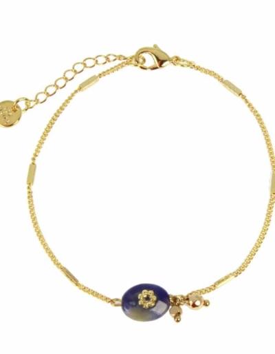 Bracelet AMBRE Sodalite marine et doré